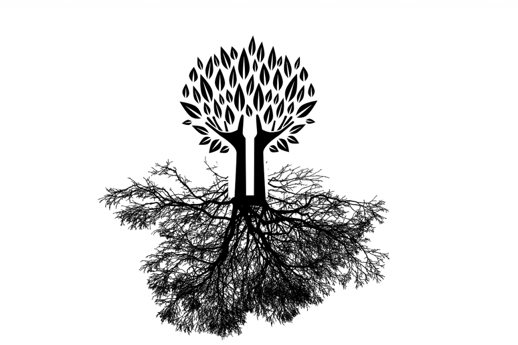 Baum mit Wurzeln und Händen, die nach oben reichen (Flügel)